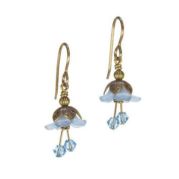 Fairy Flower Earrings in Vintage Natural Brass with Blue Swarovski Crystals