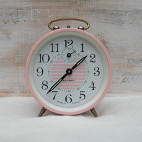 French pink alarm clock, Bayard alarm clock, pink and white alarm clock, night stand clock, French shabby chic alarm clock, réveil