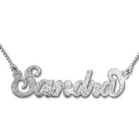 Silver Sparkling Handwritten Name Necklace