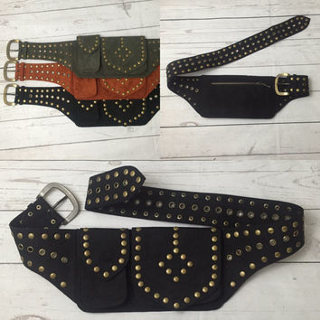Hip Belt, Pocket Hip Belt, Festival Belt, Fanny Pack, Travel Belt, Studded Hip Belt