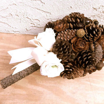 Rustic wedding bouquet pine cone forest winter country weddings