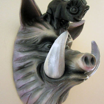 "Snoop Hog, Hog Head Wall Piece. Ceramic Sculpture. Pop Surrealism. Monster. Kathleen McGiveron. 13""h x 8""w x 6""d"