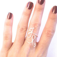 initial ring - double initials - two initials - two letters - wire wrapped ring