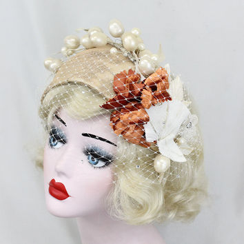 Unique Wedding Veil, Champagne Bridal Hat, Ivory Birdcage Veil, Wedding Headpiece, One Of A Kind, Flower Headpiece, Rust Flowers, Gold Hat