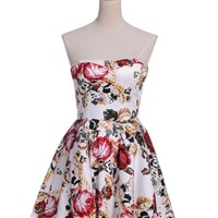 Anna-Kaci S/M Fit Multicoloured Rose Print Flared Waist Tulle Underlay Dress