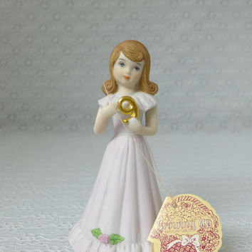 Birthday Girl Figurine,  Girls 9th Birthday, Enesco Figurine, Porcelain Girl Figure, Growing Up Birthday Girls