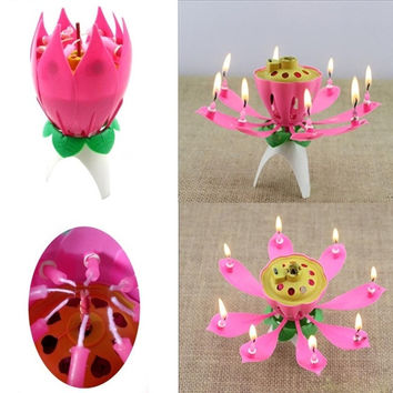 Flower shape design birthday candles (Color: Pink) = 1946031556
