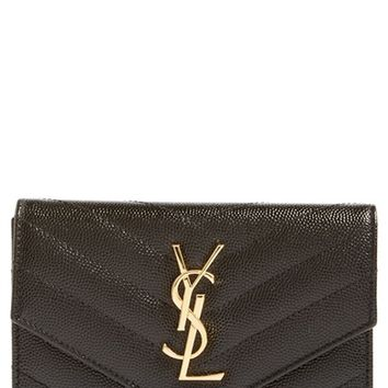 Saint Laurent Monogram Leather Passport Case | Nordstrom