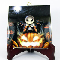 The Nightmare before Christmas Ceramic Tile - Handmade from Italy - High Quality Jack Skellington Sally Tim Burton  mod. 29