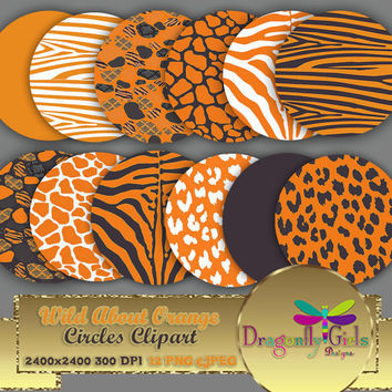 """80% OFF Sale WILD About Orange Circles 8"""" Clip Art, commercial use, digital scrapbook papers, vector graphics, printable, Instant Download"""
