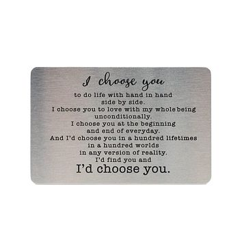 Hadria I Choose You Wallet Card, Inspirational Gifts for Special Someone