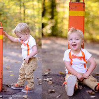 Baby Boy Orange Suspender Polka Dot Bow Tie Set 024 by cocoandbeau