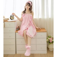 Fashion Women Bathrobe+ Headband+Shoes 3 PCS Nightgowns Autumn Sexy Bowknot Strapless Tube Dress Robe Bath Towel Sleepwear