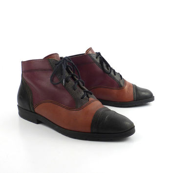 Granny Boots Vintage 1980s Black  Burgundy Brown Green Multicolor Leather Lace Up  Women's 7
