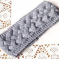 on SALE 30% - Winter knit headband, beautiful cozy, thick, cable pattern Knitted Headband, Gray Knit Head Wrap, Knitted Ear Warmer,