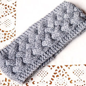on SALE 30% - Winter knit headband, beautiful cozy, thick, cable pattern Knit...