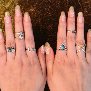 7PCS Vintage Turkish Beach Punk Moon Arrow Ring Set ,Ethnic Carved Silver Plated Boho Midi Finger Ring Knuckle Charm anelli
