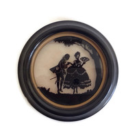 Vintage Reverse Painting, Silhouette, Courting Couple, Colonial Era, Round Black Frame, When Love Was Young, C & A Richards, 1940's
