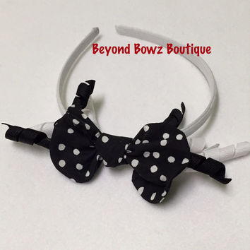 Black n white polka-dots! New product in my shop! Headband Bowz! Fabric bows with ribbon. On a rigid type headband. Korker ribbons in B&W