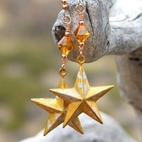 Gold Texas Stars Handmade Earrings Rustic Brass Swarovski Topaz Dangle