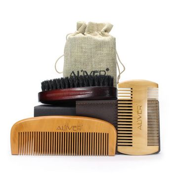 3 Pcs Men Moustache Beard Comb Kit for Men Beard & Mustache Bristles Beard Brush & Pure Natural Schima Wood Comb Beard k8