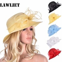 A323 Womens Kentucky Derby Floral Wide Brim Church Dress Sun Hat