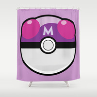 Master Pokeball Shower Curtain by Pi Design Prints
