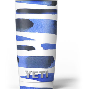 Watercolor Strokes of Blue on Black Yeti Rambler Skin Kit
