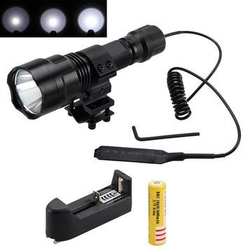 Tactical 2500lm XML T6 LED Flashlight Hunting Light Torch+Shotgun Rifle+ Mount +Pressure Switch+Battery+Charger