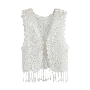 Hollow-Out Lace Style Tops Blouse Vest Short Crochet Waistcoat