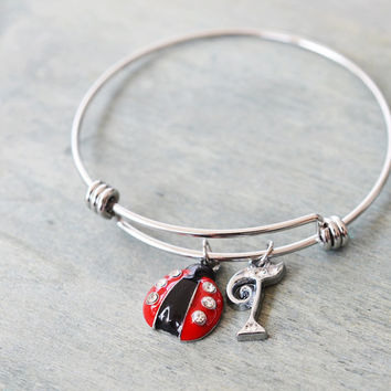 lady bug bangle, silver bangle, ladybug bracelet, bridesmaid gift, personalized bracelet, birthday gift, initial charm, sister bracelet