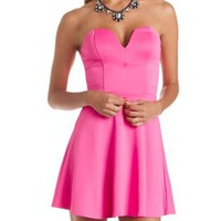 Plunging Sweetheart Skater Dress by Charlotte Russe - Bright Pink