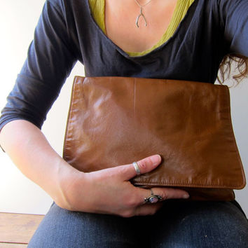 Brown Leather Boho Bag Thin Leather Envelope Clutch Purse 80s Shoulder Purse with Coin Pouch Hobo Bag Crossbody Bohemian Hipster 1980s Purse