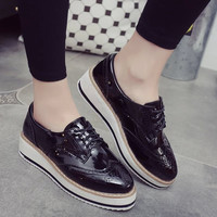 2016 Europe Style Fashion Women Casual Leather Platform Shoes Woman Thick Soled Lace Up Oxfords Zapatos Mujer Ladies Creepers