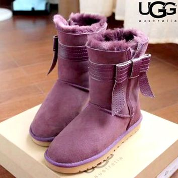 Free shipping-UGG Tide brand women's tube bow snow boots
