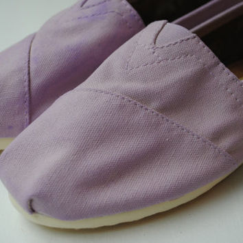 Custom Hand Painted TOMS in Light Purple by PaperHeartsCouncil