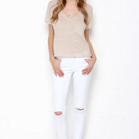 Lean With It White Distressed Skinny Ankle Jeans