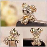 gold Crystal bear Anti Dust Dust-proof Earphone ear plug for iphone HTC 3.5mm
