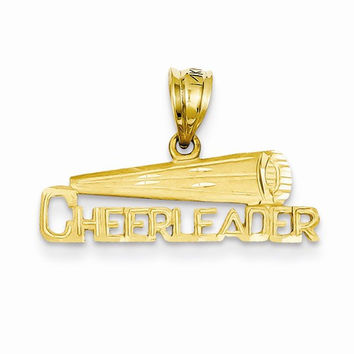 14k Yellow Gold Megaphone Cheerleader Pendant