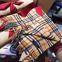 Burberry New fashion multicolor stripe keep warm tassel scarf women