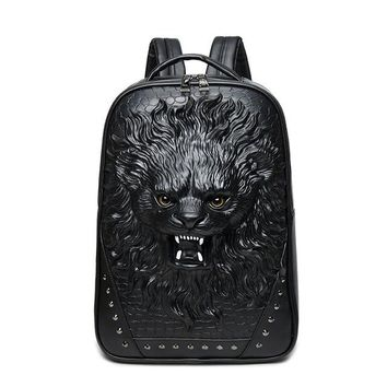 Cool Backpack school 2017 High Quality 3D Lion Head Embossing Rivet Satchel Man Backpack Halloween Cool Leather laptop Travel Soft School Bags AT_52_3