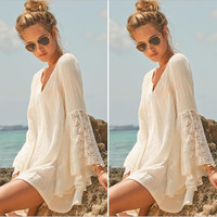 Hippie Boho Dress Bell Long Sleeve Gypsy Plus Size Loose Lace Mini Dress