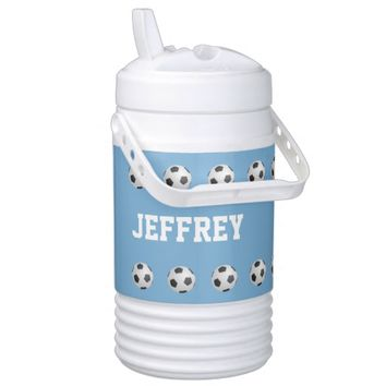 Personalized Beverage Cooler Soccer Light Blue