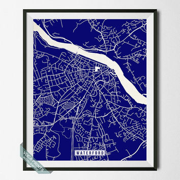 Waterford Print, Ireland Poster, Waterford Poster, Waterford Map, Ireland Print, Ireland Map, Street Map, Home Decor, Wall Art