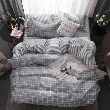 Grey Stripe Bedding Set