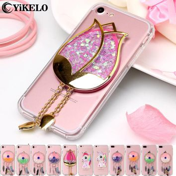 YiKELO 3D Dynamic Liquid Rose Flower Soft Clear phone case For iPhone7 Glitter Sand Quicksand Star Back Cover for iPhone 7