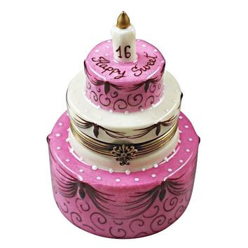 Sweet 16 Happy Birthday Cake  Limoges Porcelain Boxes