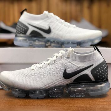 2018 Nike Air VaporMax Flyknit 2.0 White Black 942842-103 Sport Running Shoes - Best Online Sale