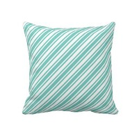 Teal And White Stripes Throw Pillows