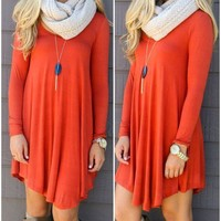 Casual Long Sleeve Fall O Neck Dress- 5 Color Options-